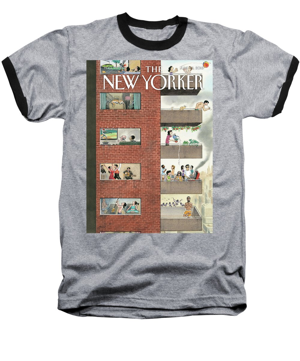 City Living Baseball T-Shirt featuring the drawing City Living by Harry Bliss