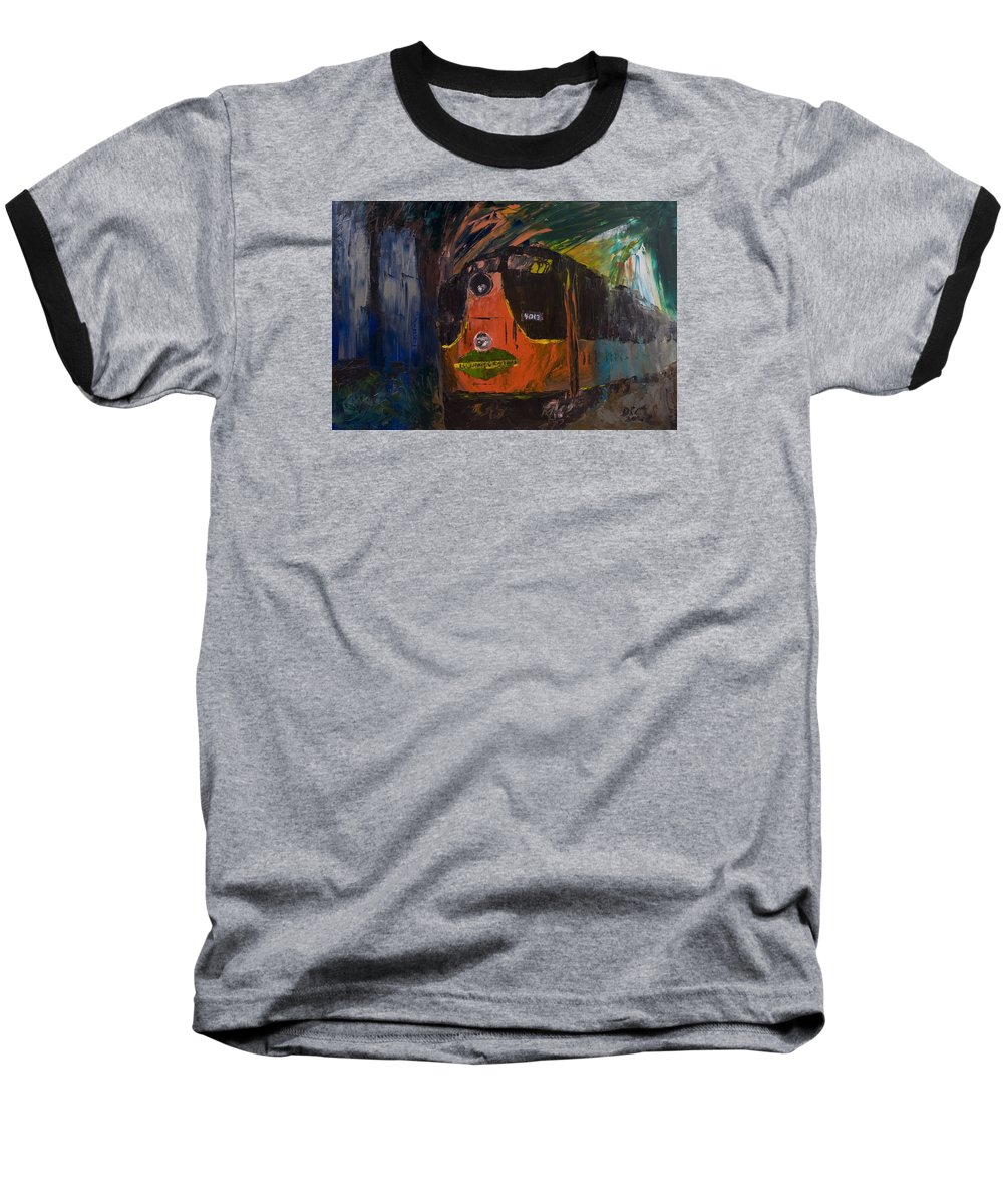 Train Baseball T-Shirt featuring the painting City Of New Orleans by David McGhee