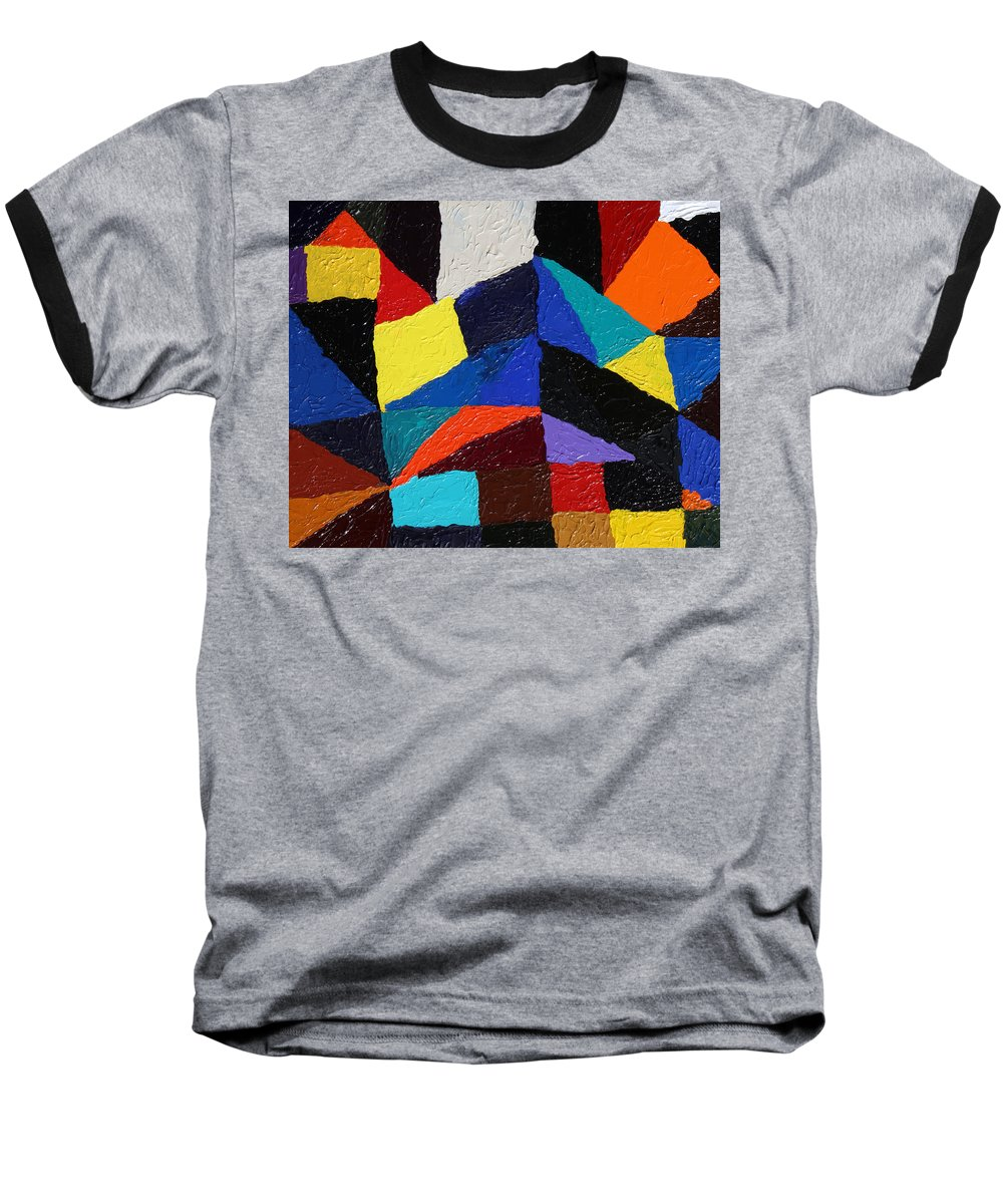 Fusionart Baseball T-Shirt featuring the painting Cityscape by Ralph White
