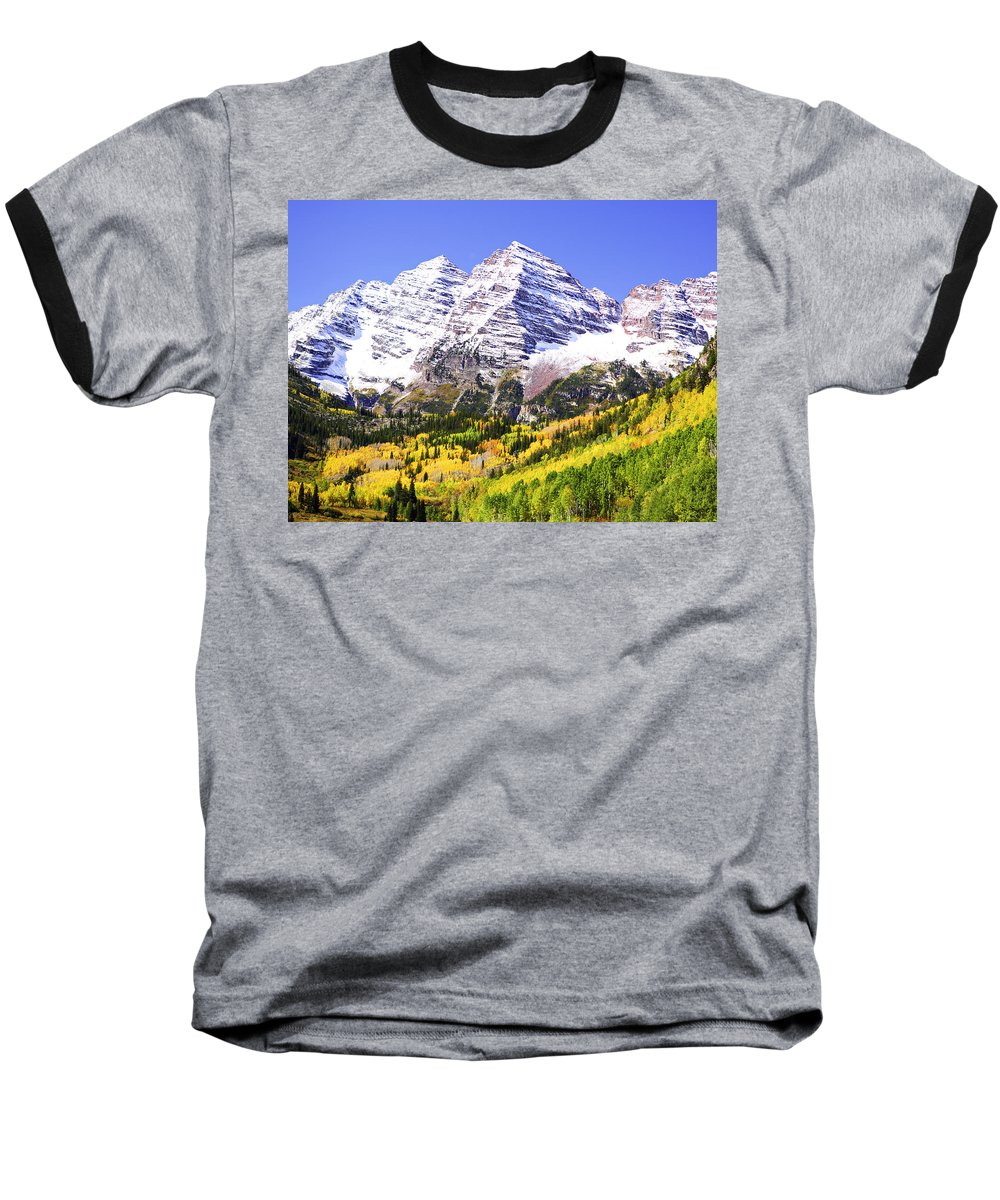 Americana Baseball T-Shirt featuring the photograph Classic Maroon Bells by Marilyn Hunt