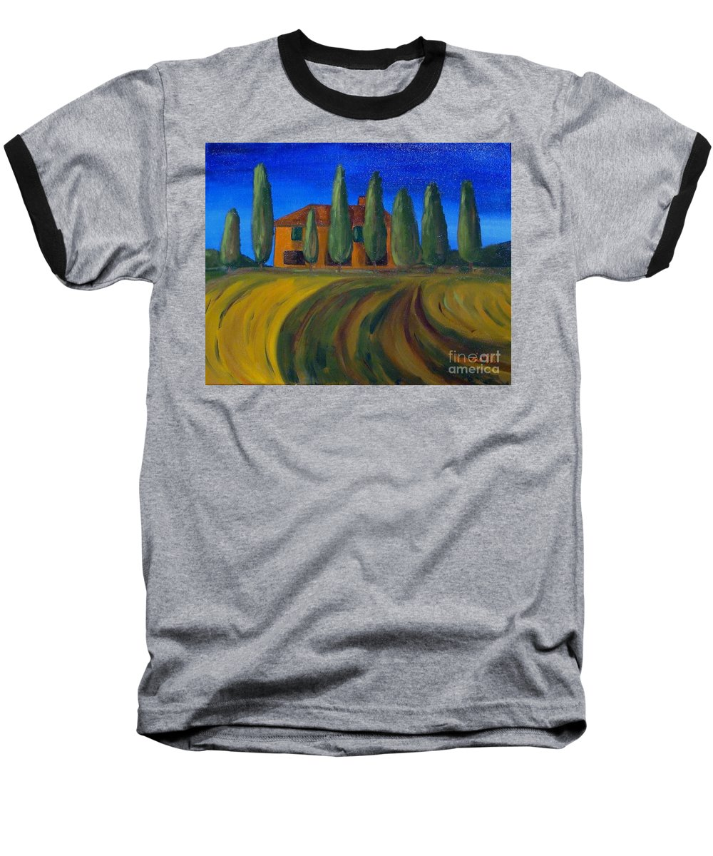 Tuscany Baseball T-Shirt featuring the painting Classic Tuscan Sunset by Laurie Morgan