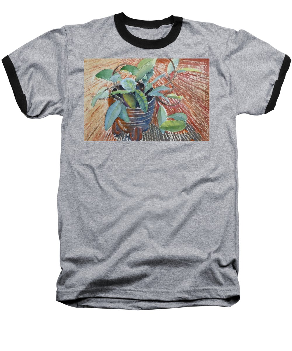 Vine Baseball T-Shirt featuring the painting Clay Pot by Ruth Kamenev
