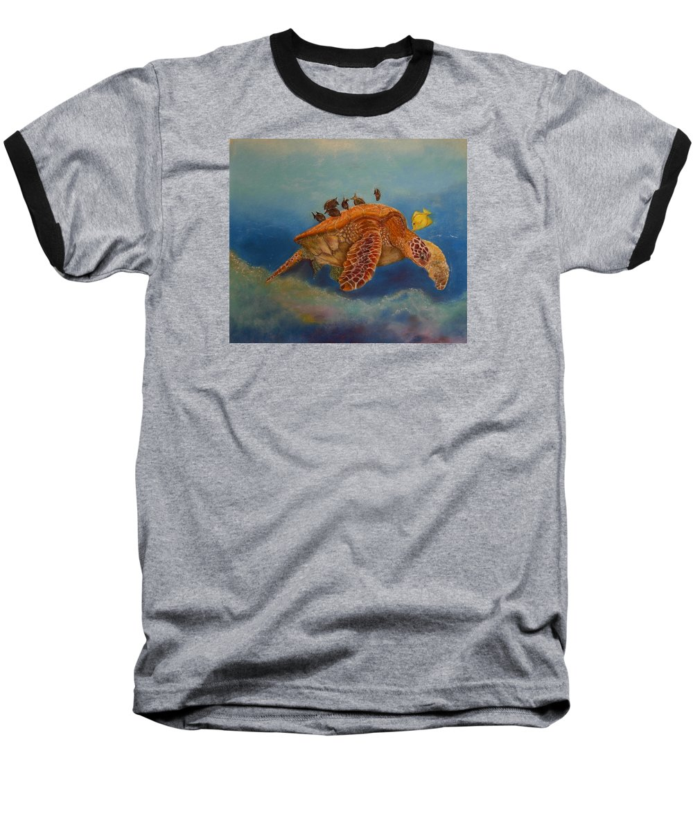 Turtle Baseball T-Shirt featuring the painting Cleaning Station by Ceci Watson