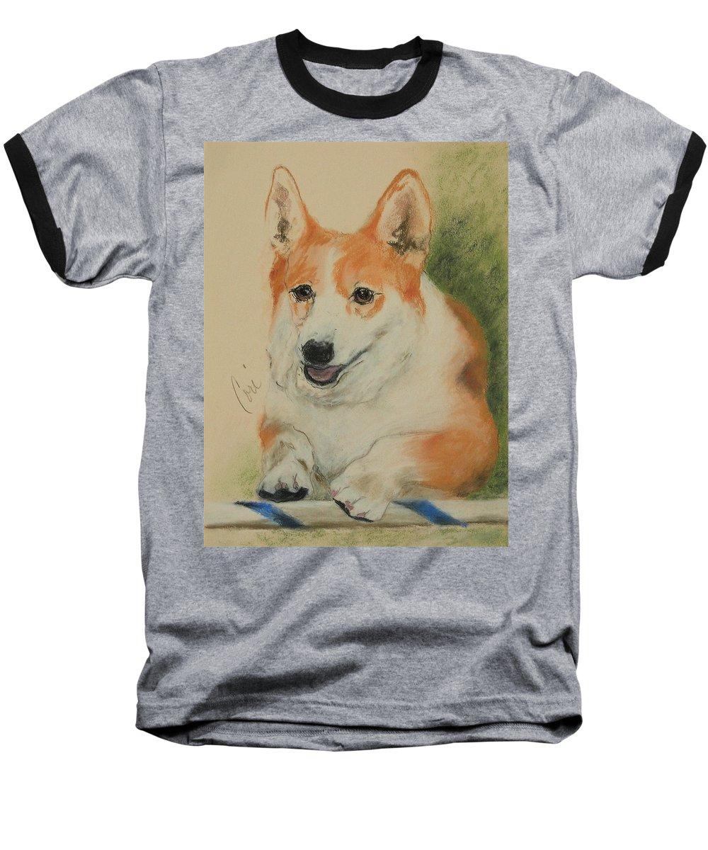 Pastel Baseball T-Shirt featuring the drawing Clear Run by Cori Solomon