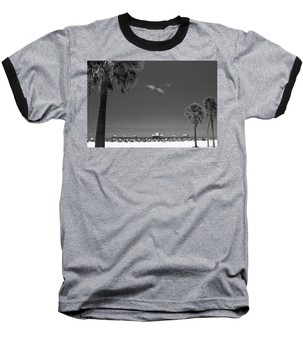 B&w Baseball T-Shirt featuring the photograph Clearwater Beach Bw by Adam Romanowicz