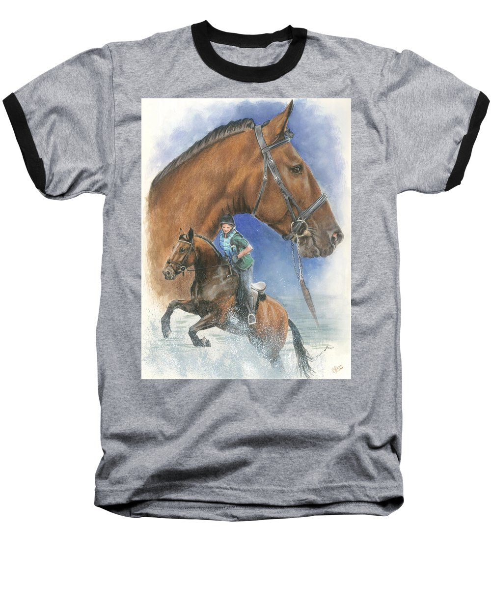Hunter Jumper Baseball T-Shirt featuring the mixed media Cleveland Bay by Barbara Keith