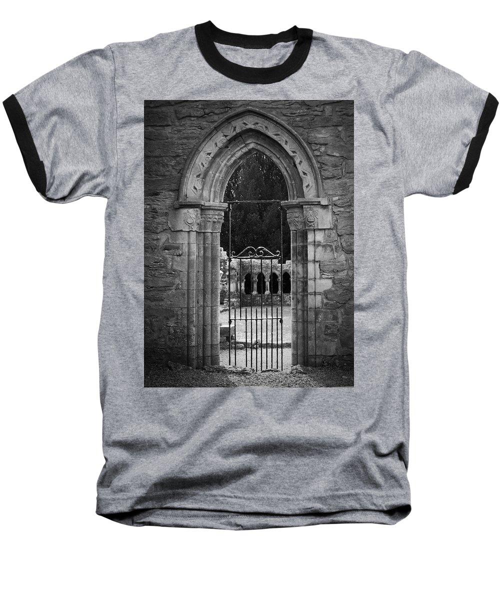 Irish Baseball T-Shirt featuring the photograph Cloister View Cong Abbey Cong Ireland by Teresa Mucha