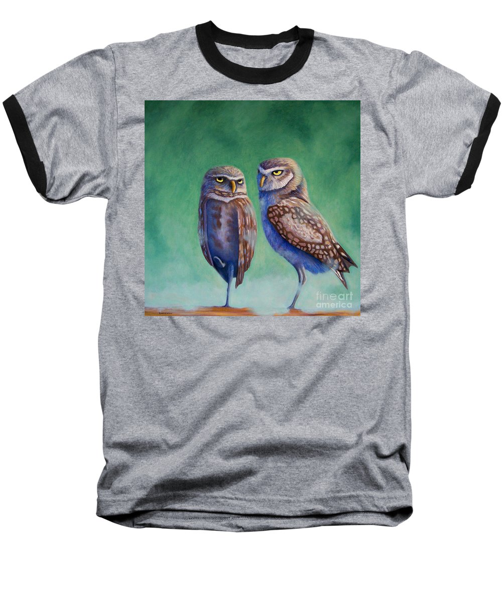 Owls Baseball T-Shirt featuring the painting Close Encounters by Brian Commerford