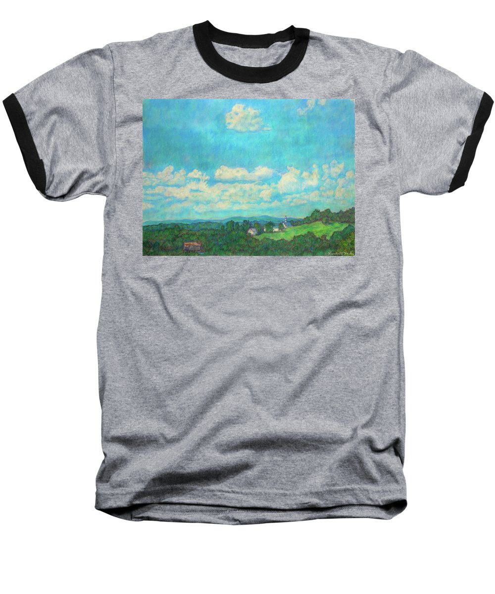 Landscape Baseball T-Shirt featuring the painting Clouds Over Fairlawn by Kendall Kessler