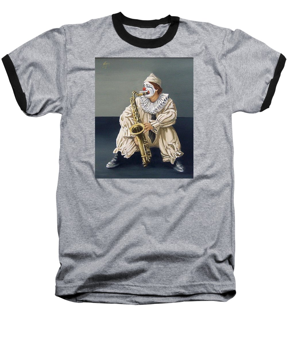 Clown Figurative Portrait People Baseball T-Shirt featuring the painting Clown by Natalia Tejera