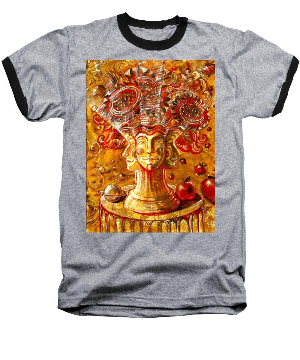 Inga Vereshchagina Baseball T-Shirt featuring the painting Clowns With Sunflowers by Inga Vereshchagina