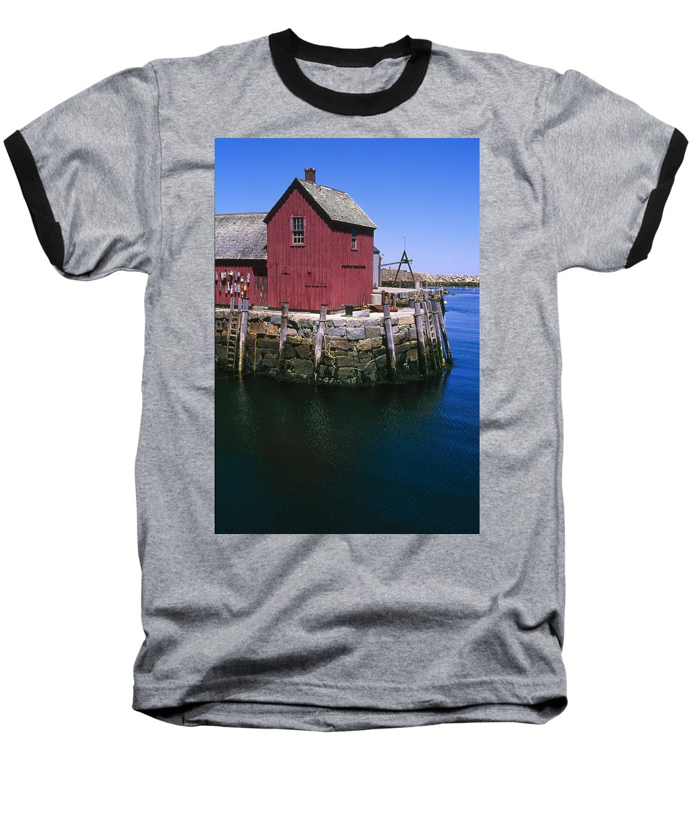 Landscape New England Rockport Motif Number 1 Baseball T-Shirt featuring the photograph Cnrf0506 by Henry Butz