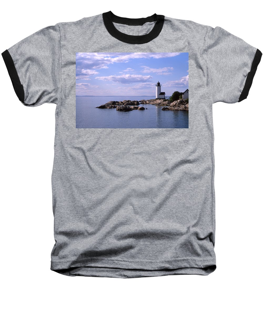 Landscape Lighthouse New England Nautical Baseball T-Shirt featuring the photograph Cnrf0901 by Henry Butz