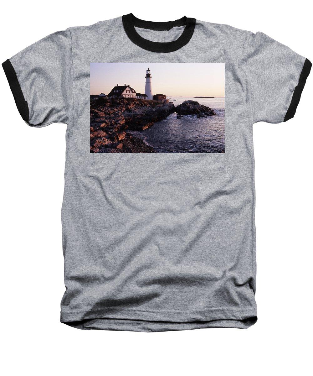 Landscape Lighthouse Nautical New England Portland Head Light Cape Elizabeth Baseball T-Shirt featuring the photograph Cnrf0905 by Henry Butz