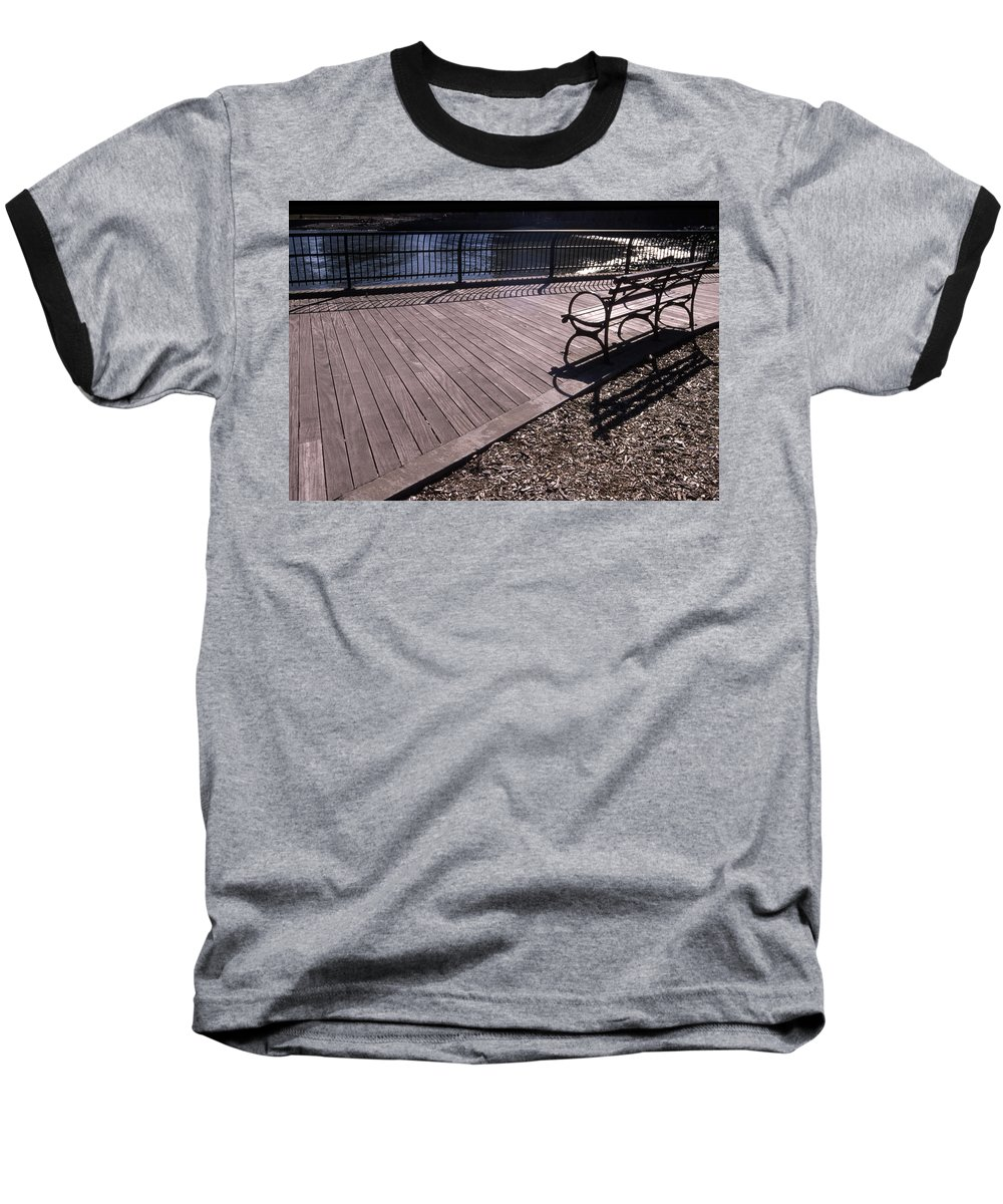 Manhattan Brooklyn Bridge Park Bench Baseball T-Shirt featuring the photograph Cnrg0404 by Henry Butz