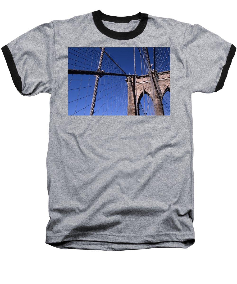 Landscape Brooklyn Bridge New York City Baseball T-Shirt featuring the photograph Cnrg0405 by Henry Butz