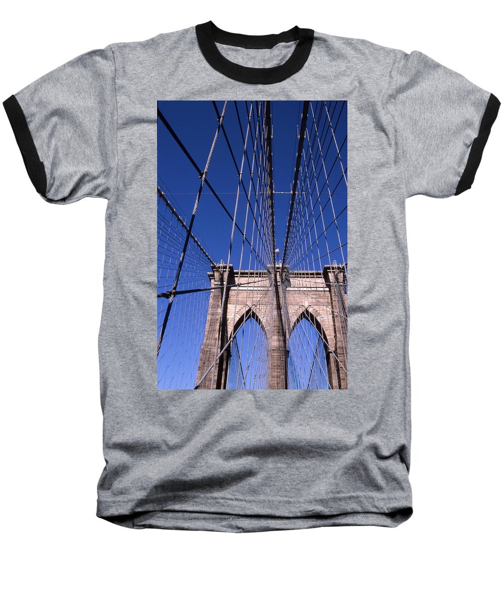 Landscape Brooklyn Bridge New York City Baseball T-Shirt featuring the photograph Cnrg0407 by Henry Butz