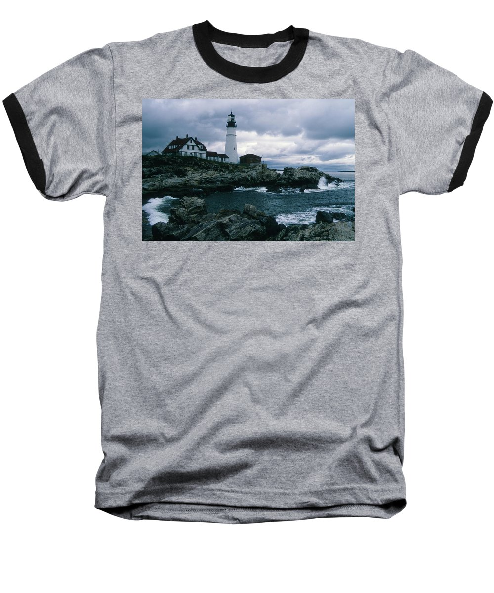 Landscape New England Lighthouse Nautical Storm Coast Baseball T-Shirt featuring the photograph Cnrg0601 by Henry Butz