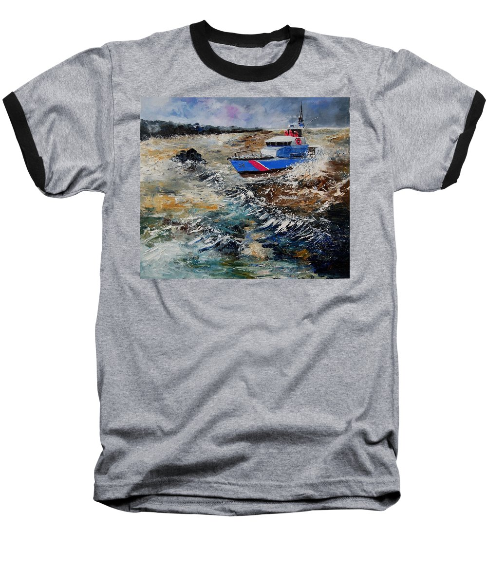 Sea Baseball T-Shirt featuring the painting Coastguards by Pol Ledent
