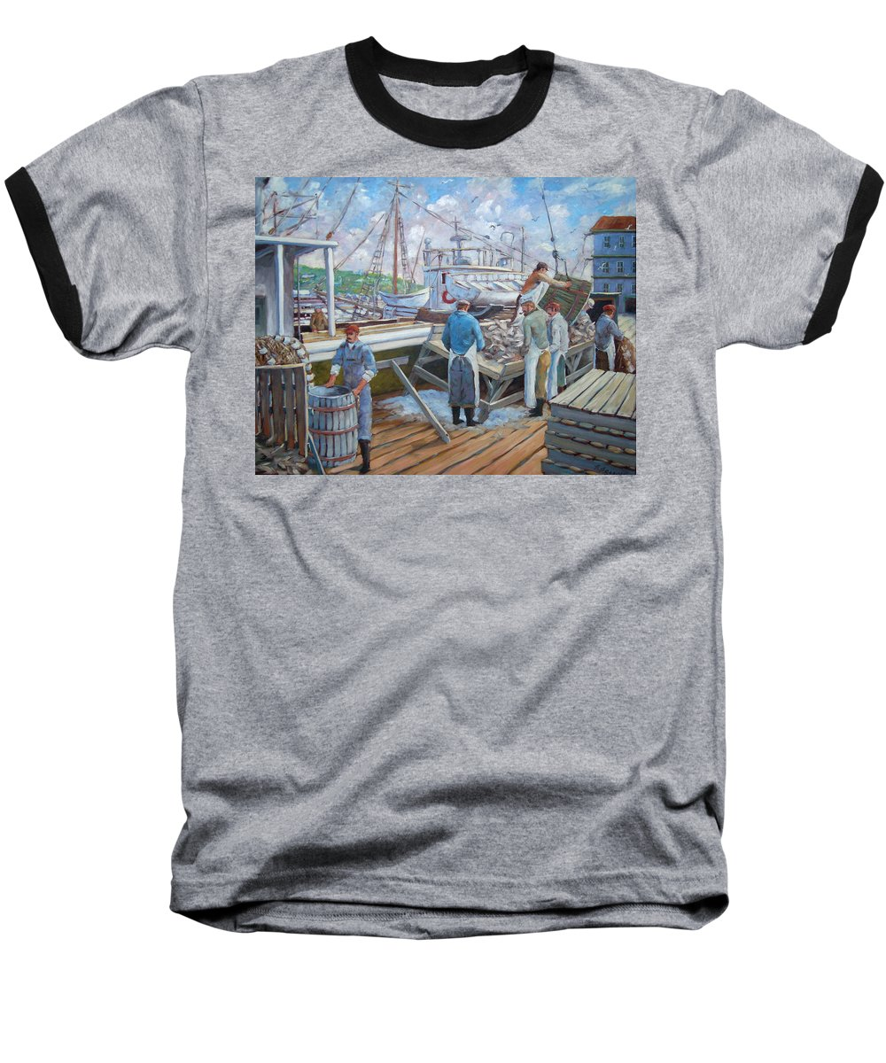 Cod Baseball T-Shirt featuring the painting Cod Memories by Richard T Pranke