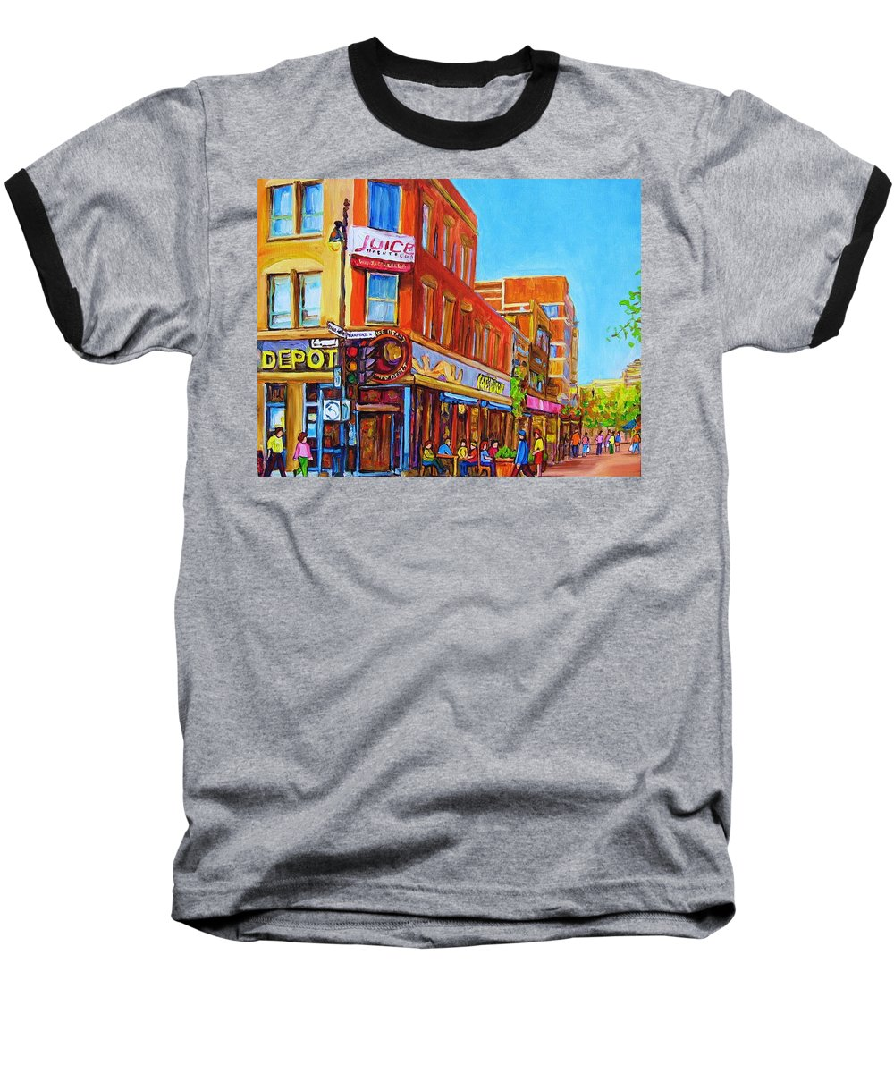 Cityscape Baseball T-Shirt featuring the painting Coffee Depot Cafe And Terrace by Carole Spandau
