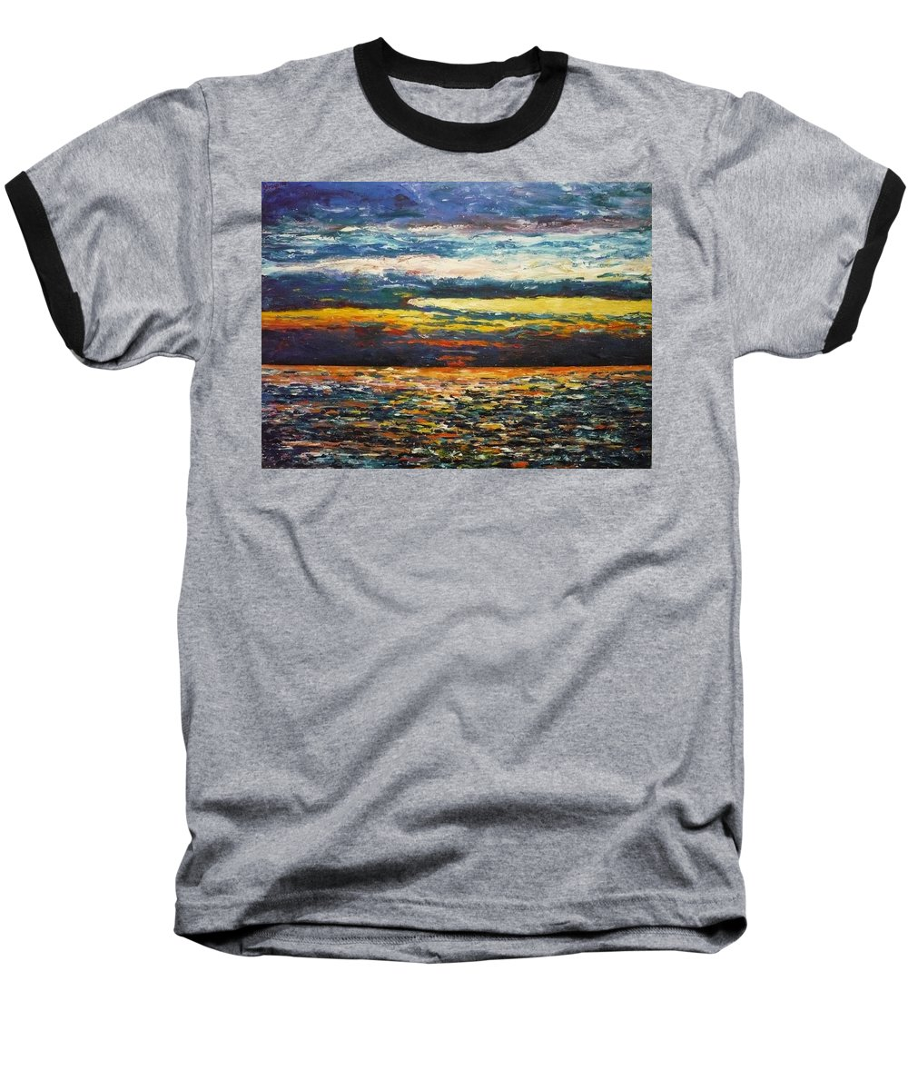 Landscape Baseball T-Shirt featuring the painting Cold Sunset by Ericka Herazo