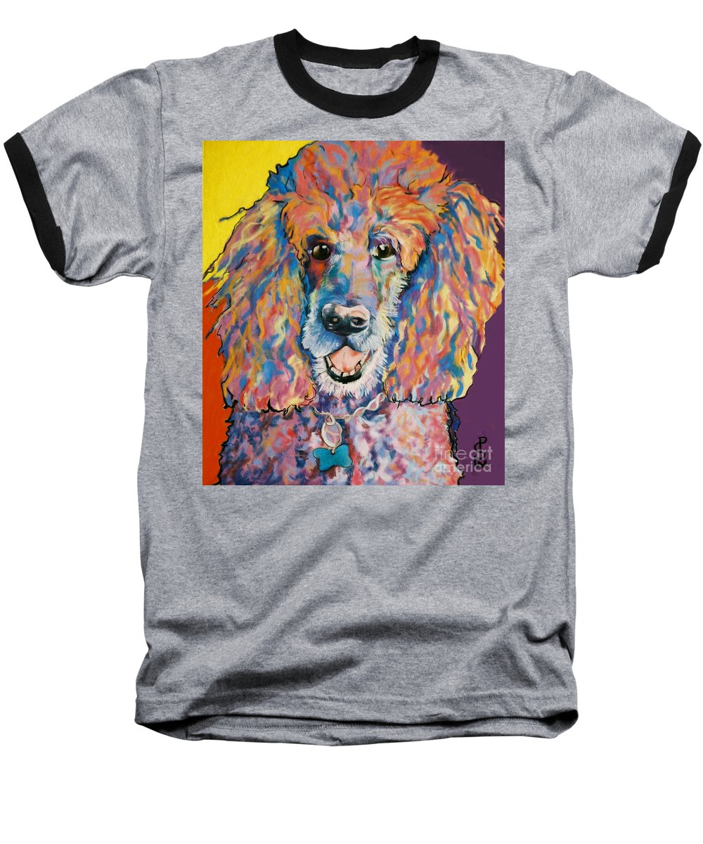 Standard Poodle Baseball T-Shirt featuring the painting Cole by Pat Saunders-White
