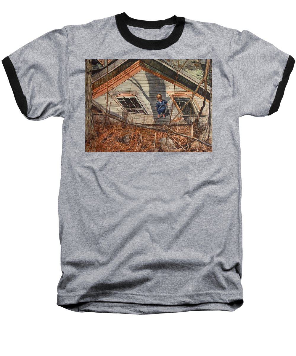 Children Baseball T-Shirt featuring the painting Collapsed by Valerie Patterson