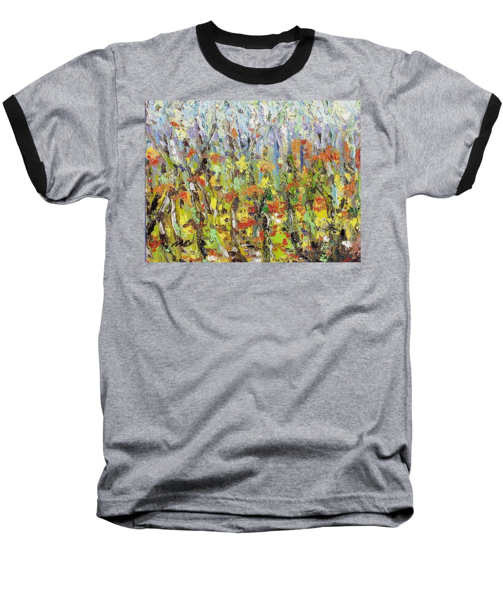 Autumn Abstract Paintings Baseball T-Shirt featuring the painting Colorful Forest by Seon-Jeong Kim