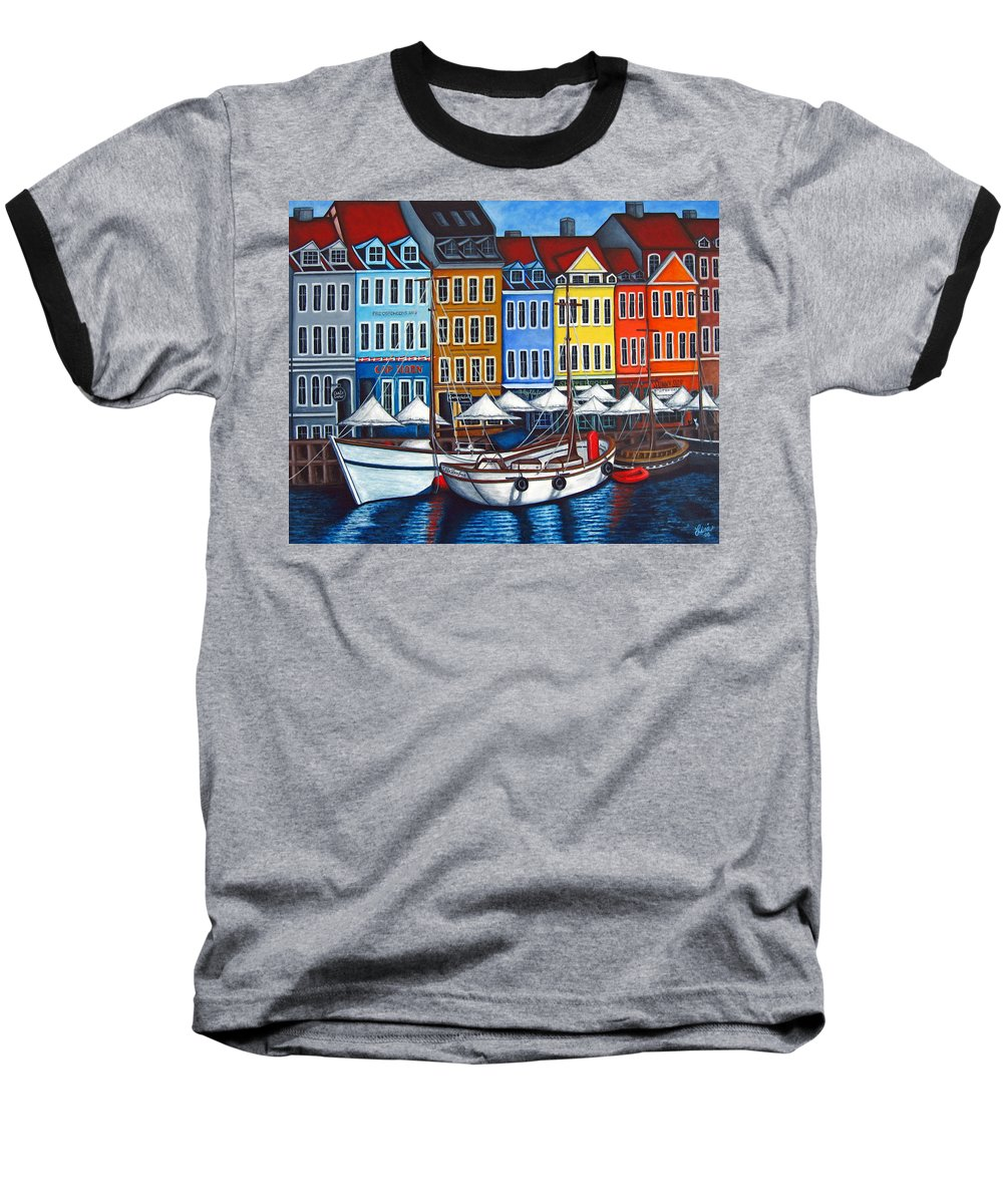 Nyhavn Baseball T-Shirt featuring the painting Colours Of Nyhavn by Lisa Lorenz