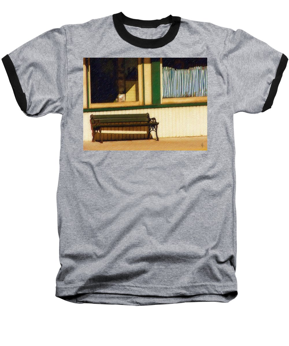 Bench Baseball T-Shirt featuring the photograph Come Sit A Spell by Sandy MacGowan