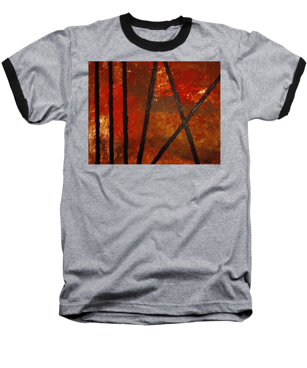 Original Abstract Acrylic Baseball T-Shirt featuring the painting Coming Apart by Todd Hoover