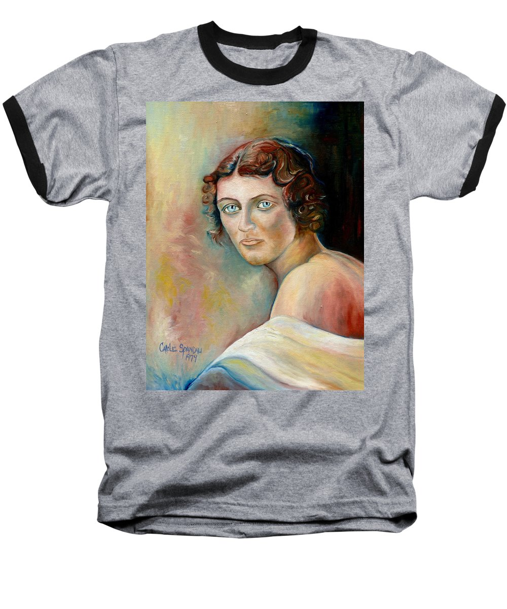 Portrait Baseball T-Shirt featuring the painting Commission Me Your Face by Carole Spandau