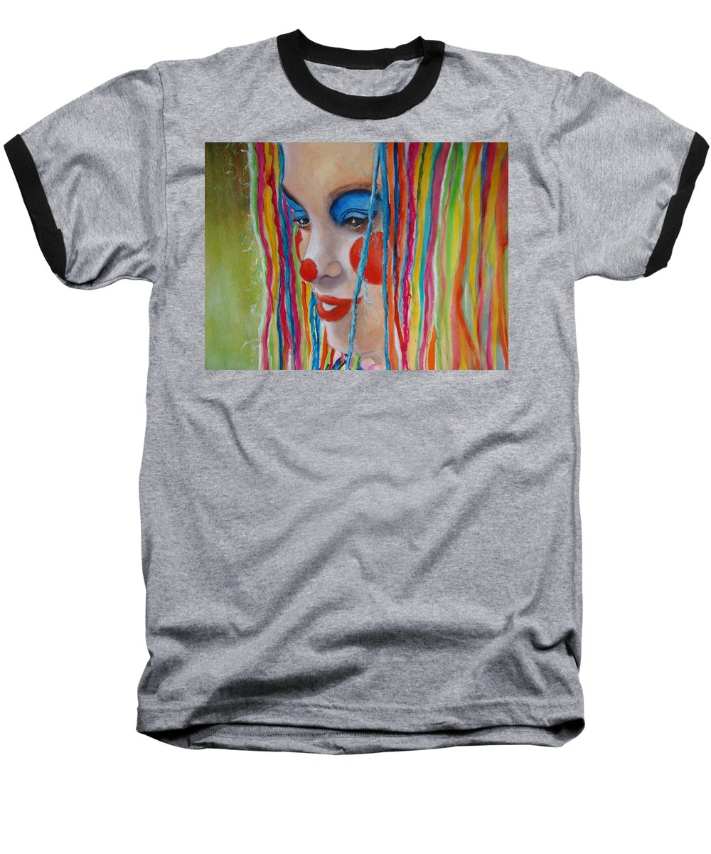 Clowns Baseball T-Shirt featuring the painting Complementary by Myra Evans
