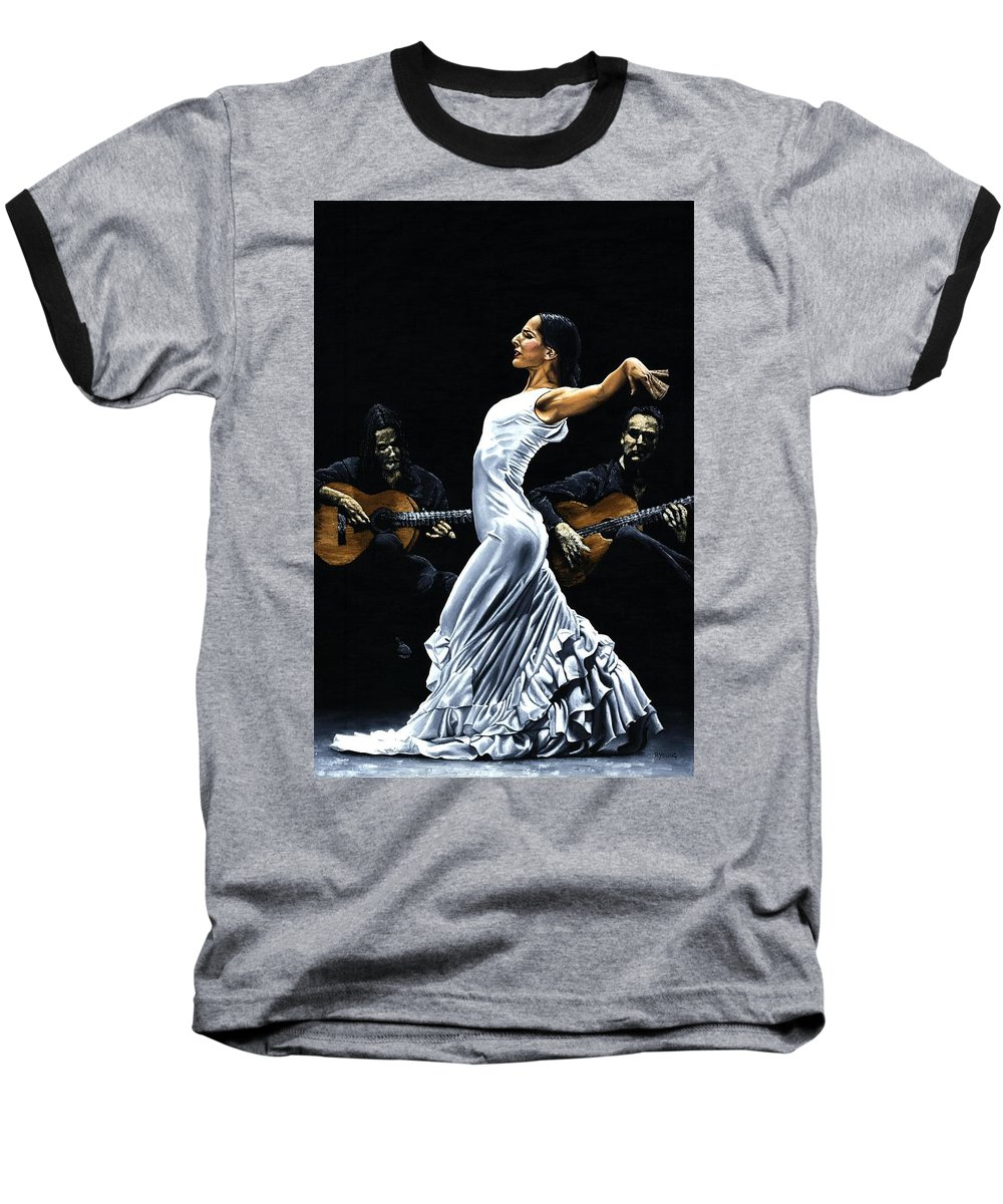 Flamenco Baseball T-Shirt featuring the painting Concentracion Del Funcionamiento Del Flamenco by Richard Young