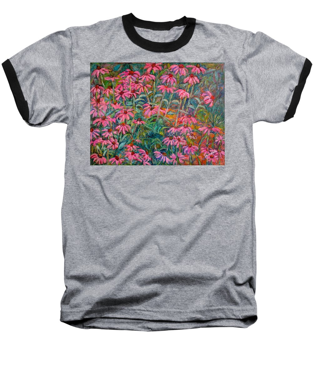 Kendall Kessler Baseball T-Shirt featuring the painting Coneflowers by Kendall Kessler