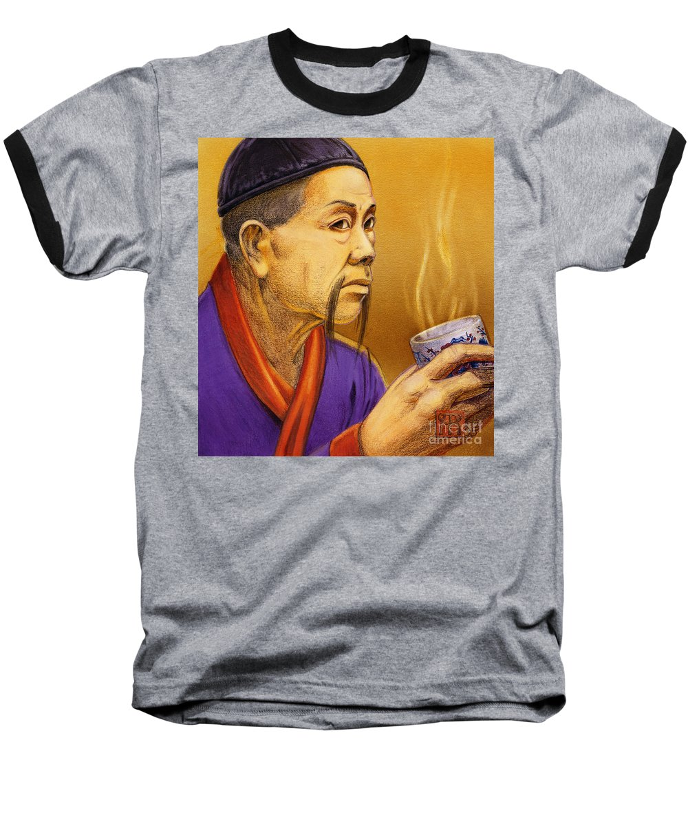 Oriental Baseball T-Shirt featuring the painting Confucian Sage by Melissa A Benson