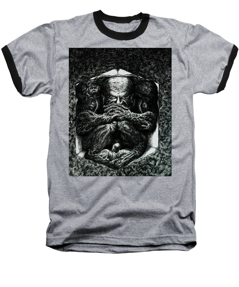 Dark Baseball T-Shirt featuring the drawing Contemplation by Tobey Anderson