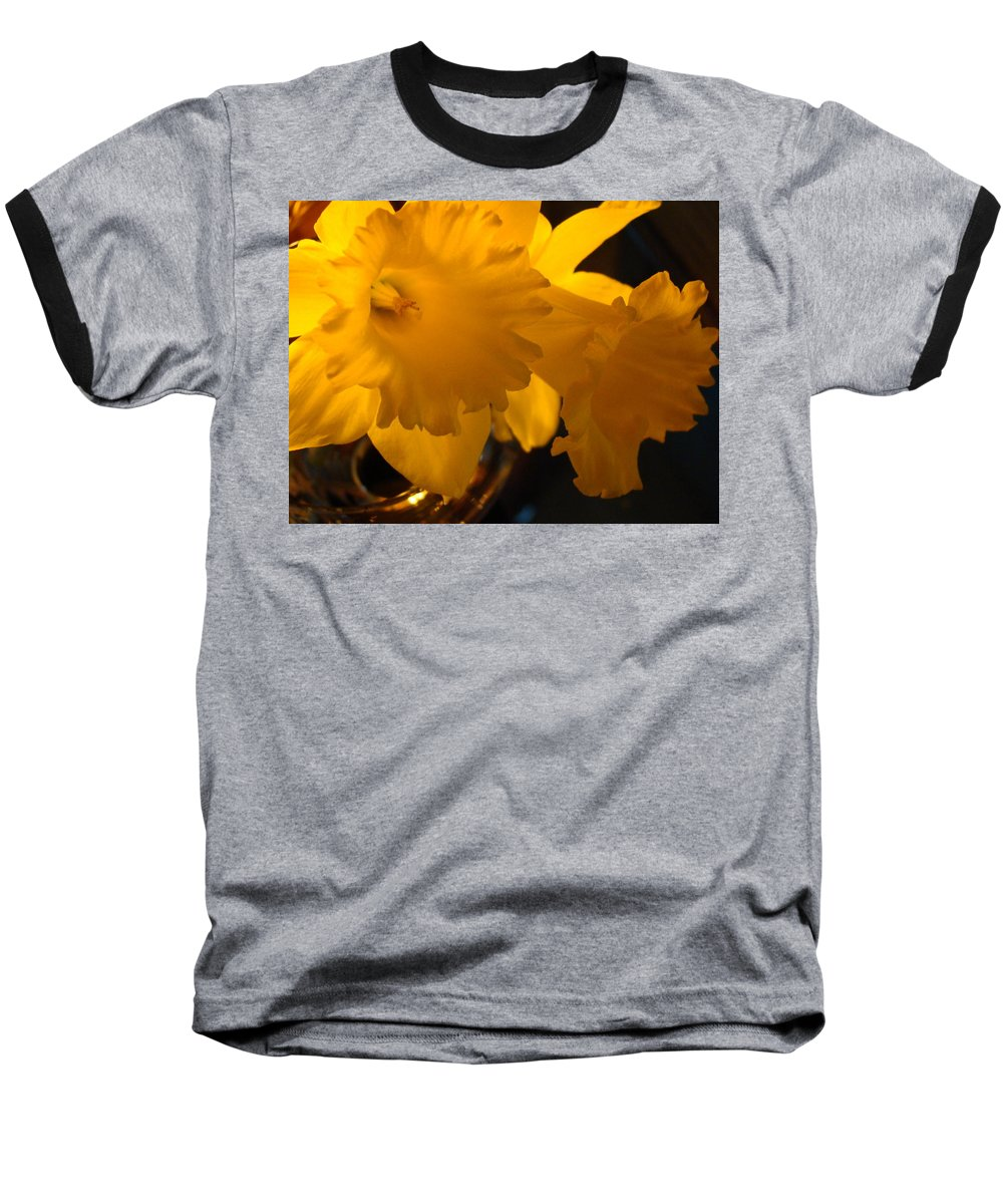 �daffodils Artwork� Baseball T-Shirt featuring the photograph Contemporary Flower Artwork 10 Daffodil Flowers Evening Glow by Baslee Troutman