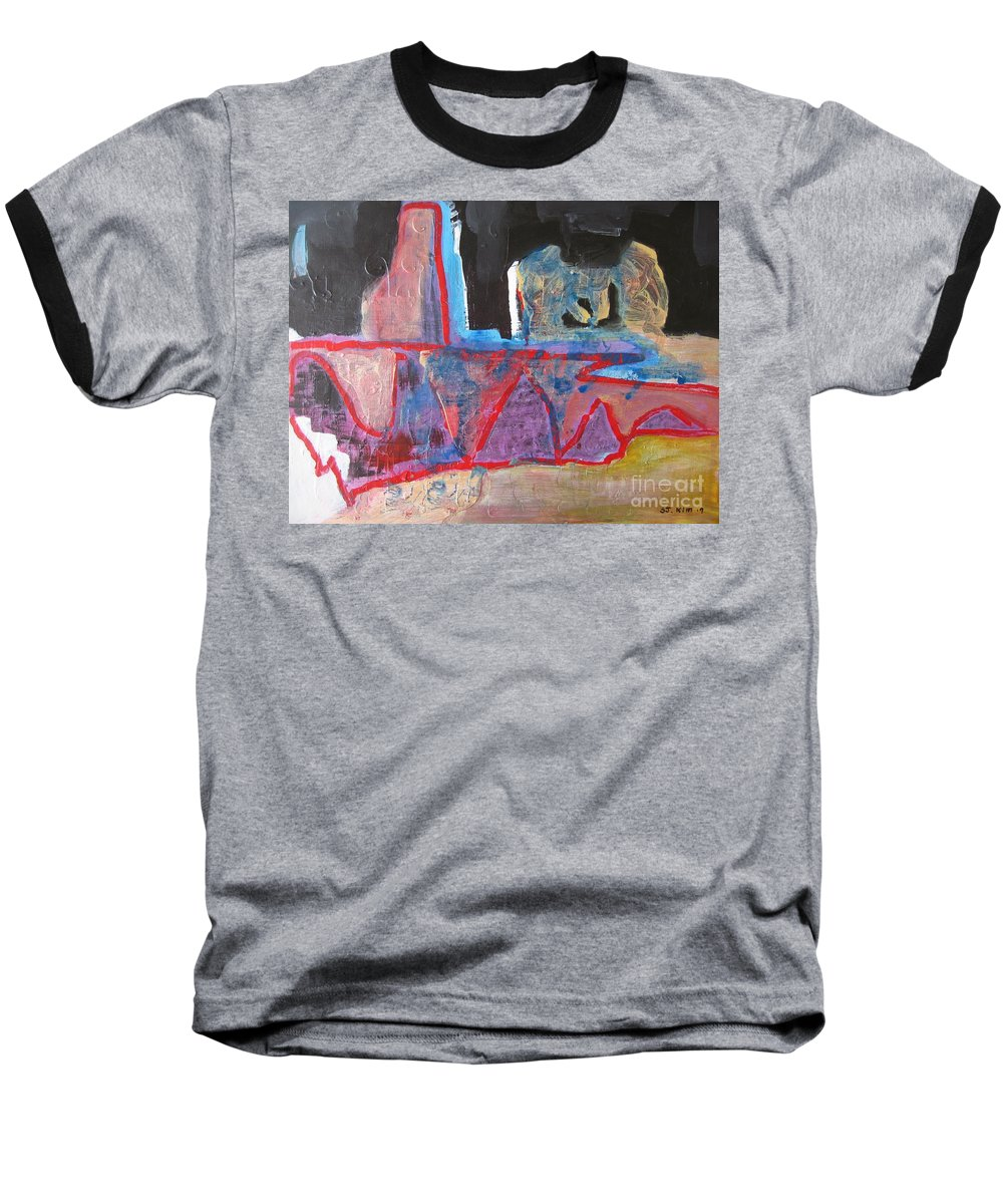 Abstract Paintings Baseball T-Shirt featuring the painting Contradiction Of Time by Seon-Jeong Kim