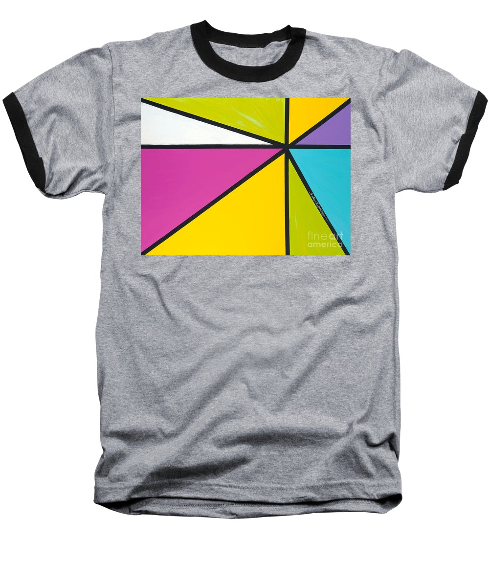 Lines Baseball T-Shirt featuring the painting Convergence by Nadine Rippelmeyer