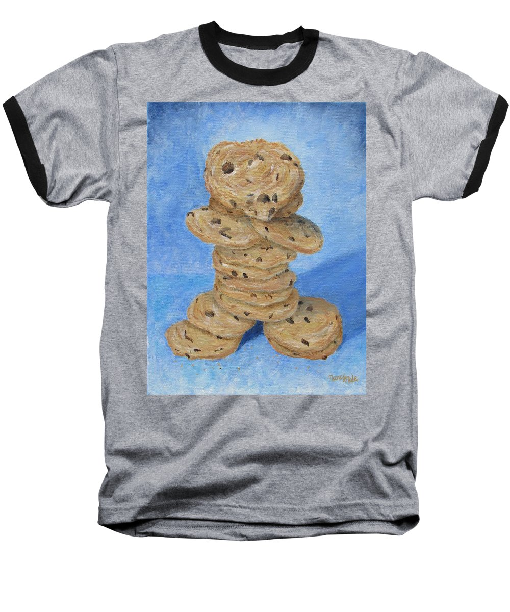 Cookies Baseball T-Shirt featuring the painting Cookie Monster by Nancy Nale