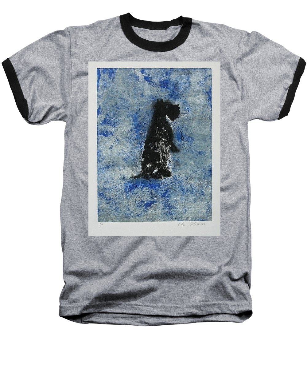 Monotype Baseball T-Shirt featuring the mixed media Cool Blue by Cori Solomon
