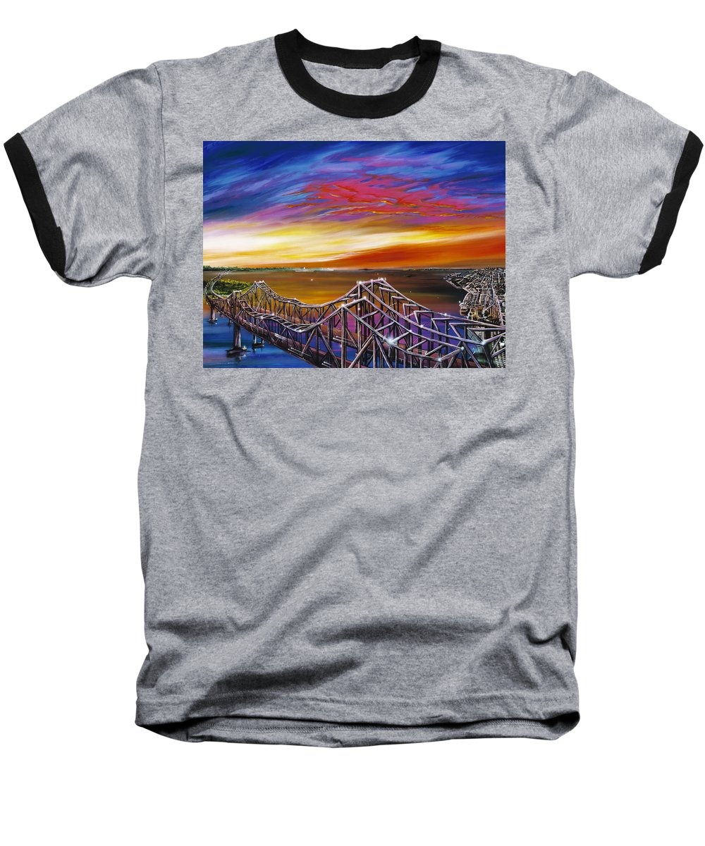 Clouds Baseball T-Shirt featuring the painting Cooper River Bridge by James Christopher Hill
