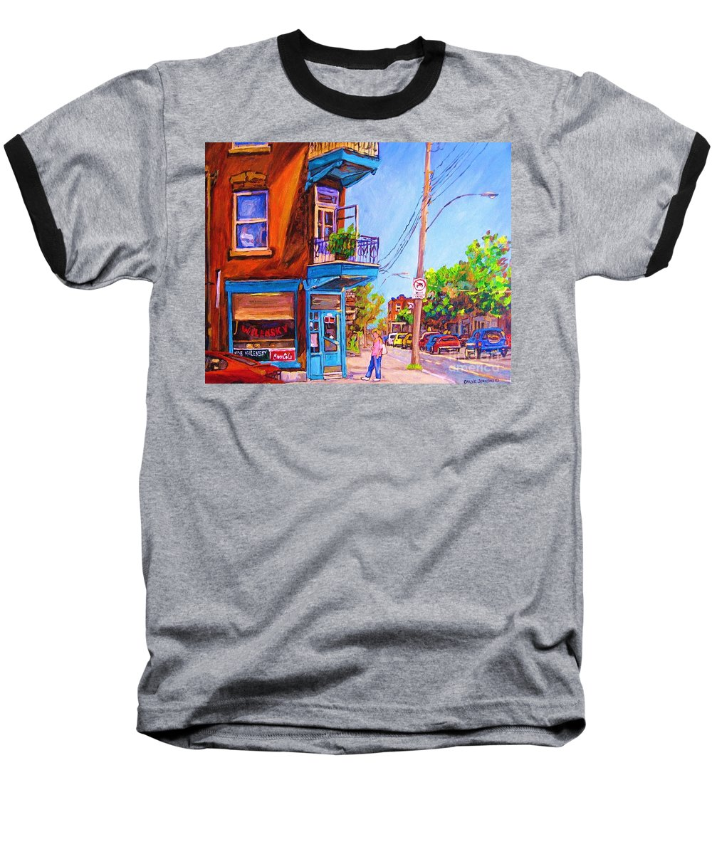 Wilenskys Corner Fairmount And Clark Baseball T-Shirt featuring the painting Corner Deli Lunch Counter by Carole Spandau