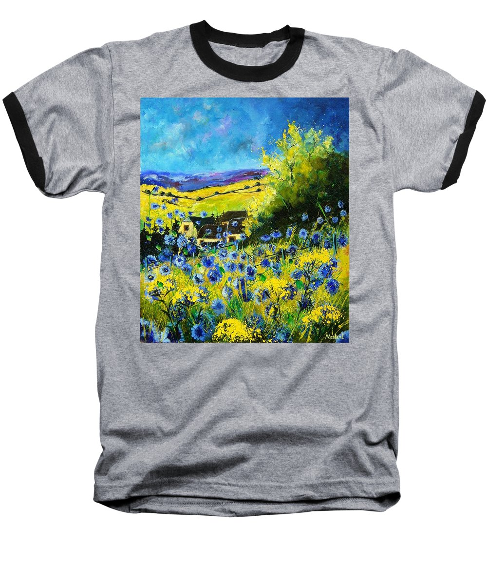 Flowers Baseball T-Shirt featuring the painting Cornflowers In Ver by Pol Ledent