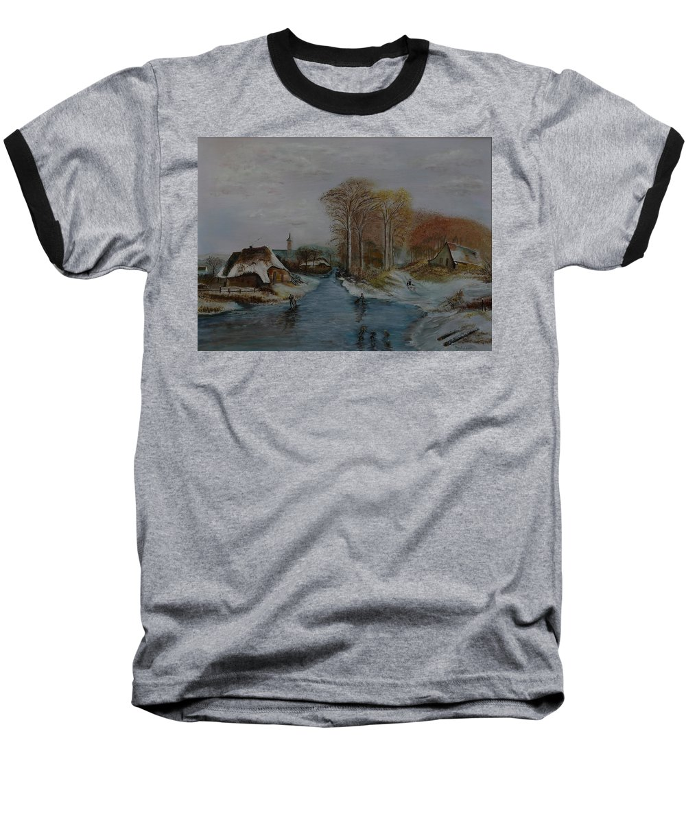 Thatched Roof Cottage Baseball T-Shirt featuring the painting Cottage Country - Lmj by Ruth Kamenev