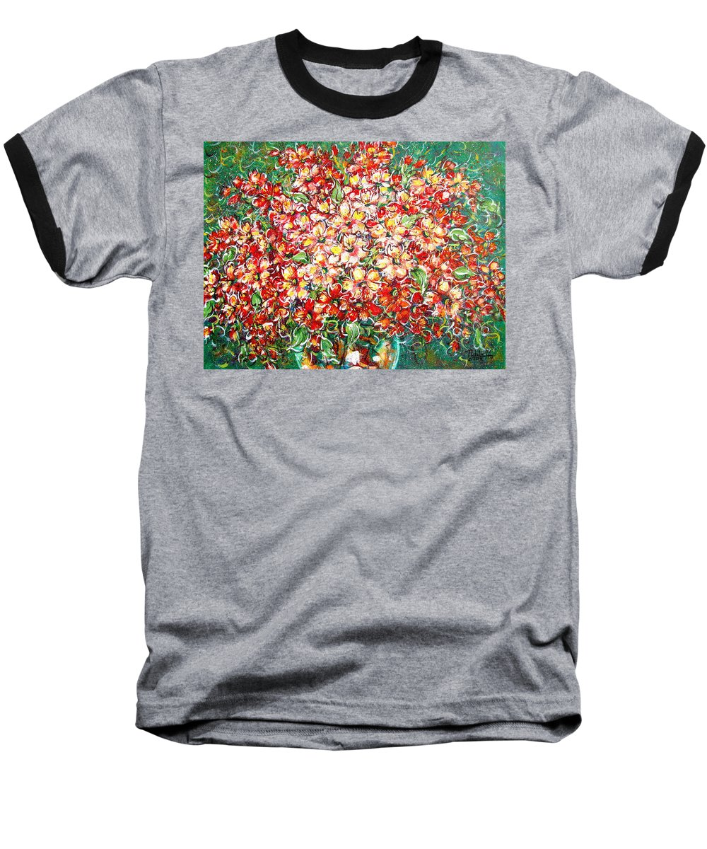 Flowers Baseball T-Shirt featuring the painting Cottage Garden Flowers by Natalie Holland