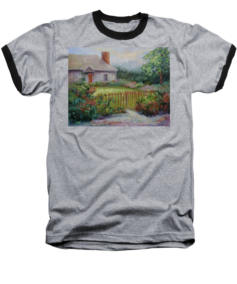 Cottswold Baseball T-Shirt featuring the painting Cottswold Cottage by Ginger Concepcion
