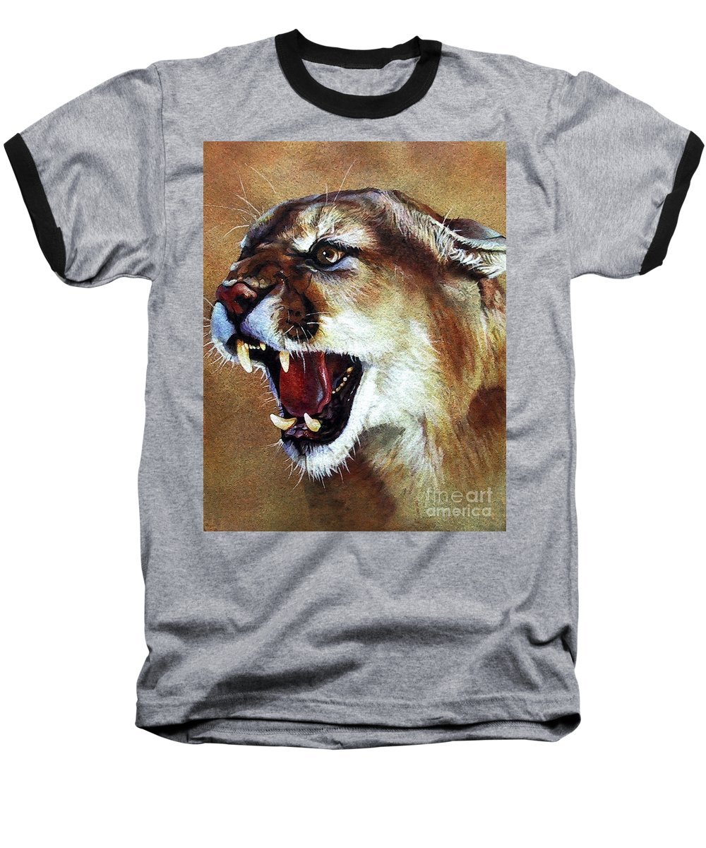 Southwest Art Baseball T-Shirt featuring the painting Cougar by J W Baker